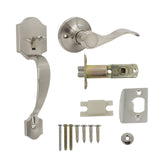 Exterior Entry Door Handle set with Interior Door Lever on Round Rose, Satin Nickel Finish - Probrico