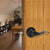 Keyed Entry Door Lever, Black Door Lock, Wave Handle on Round Rose - Probrico