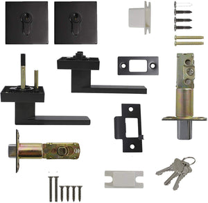 Passage Door Levers and Double Cylinder Deadbolts Lock Set (Keyed Alike), Black Finish
