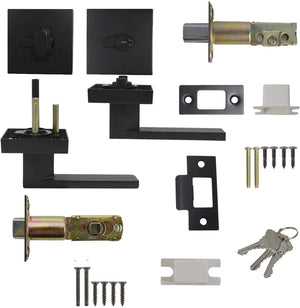 Passage Door Levers and Single Cylinder Deadbolts Lock Set (Keyed Alike), Black Finish
