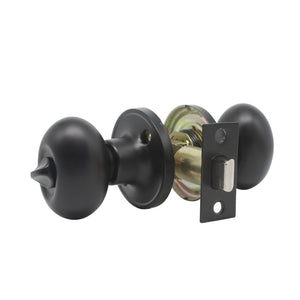 Bedroom and Bathroom Privacy Door Knob Lock Black Finish, Egg Ball Style - Probrico