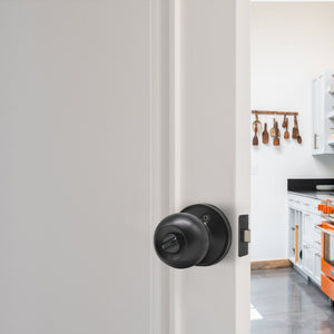 Round Ball Knobs Keyed Alike/Keyed Entry/Privacy/Passage/Dummy Door Lock Knob, Black Finish DL607BK