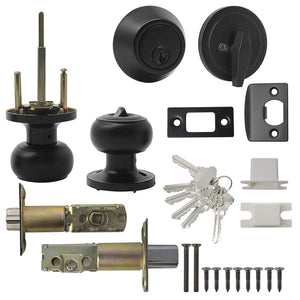 Keyed Alike Entry Door Lock Knob with Single Cylinder Deadbolt, Black Finish Combo Pack - DL609ET-101BK