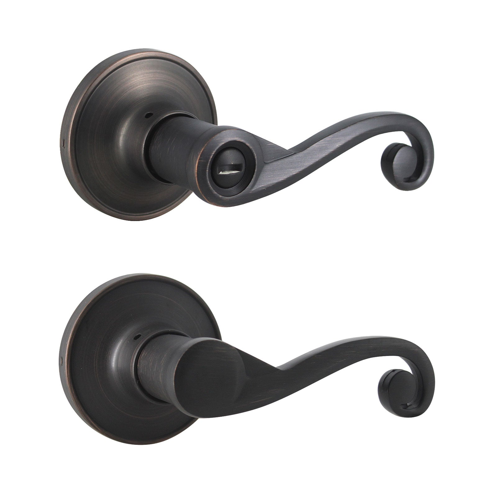 Scroll Wave Style Door Levers Oil Rubbed Bronze Finish Privacy/Passage Function Door Lock - DL851AORB