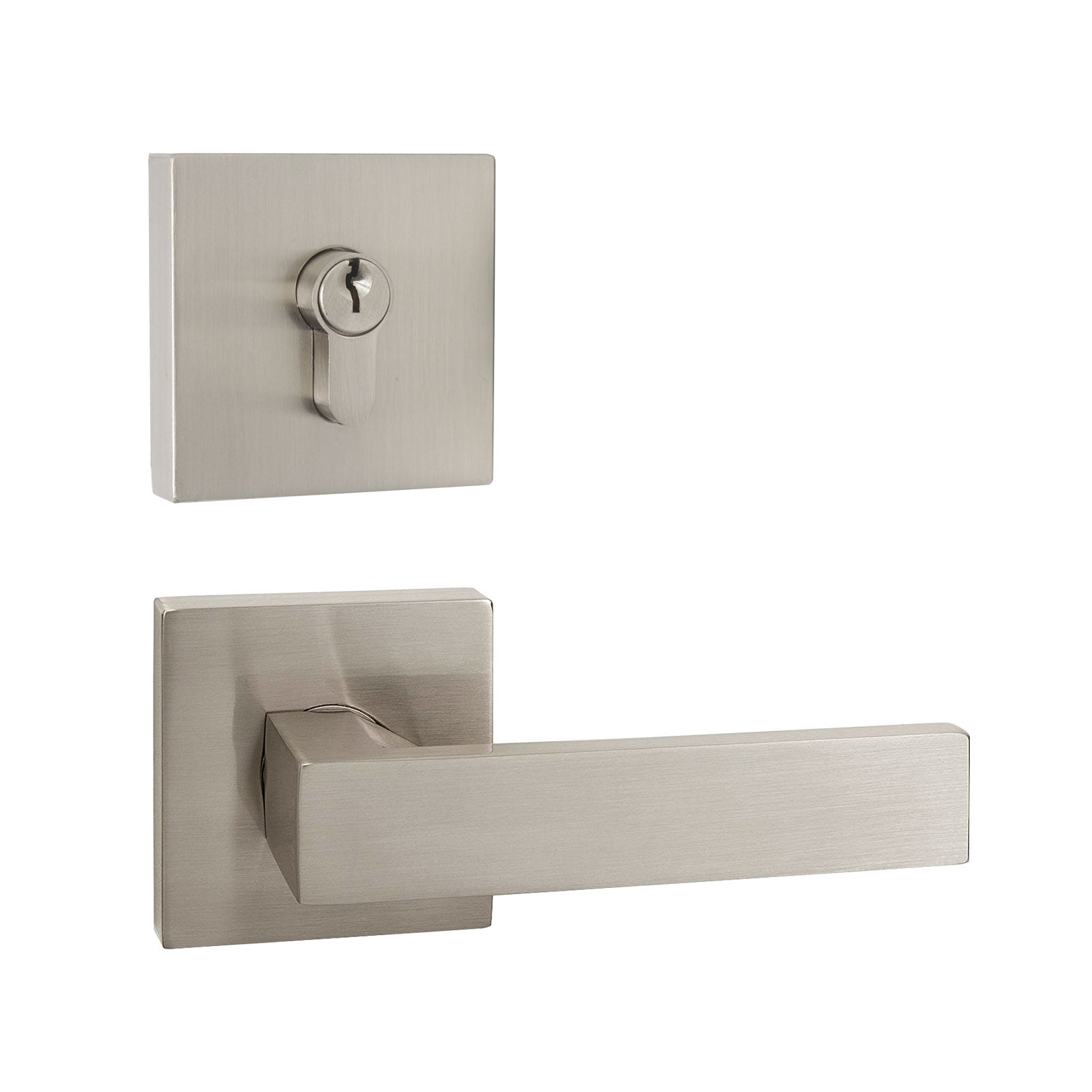 Front Door Levers and Double Cylinder Deadbolts Lock Set (Keyed Alike), Satin Nickel Finish