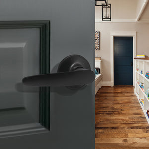 Passage Door Lever set for Closet and Hall, Leaf Style, Black Finish - Probrico