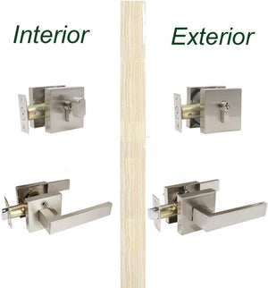 Front Door Levers and Single Cylinder Deadbolts Lock Set (Keyed Alike), Satin Nickel Finish