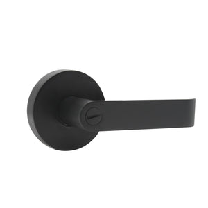 Black Finish Privacy Door Lever Lock with Round Rosette