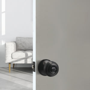 Flat Ball Knob Black Finish Privacy Door Lock Knobs DL609BKBK