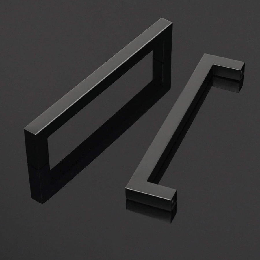 "1/2"" Square Cabinet Handles Black Finish 160mm 6 3/10inch Hole Centers PDDJS12HBK160"