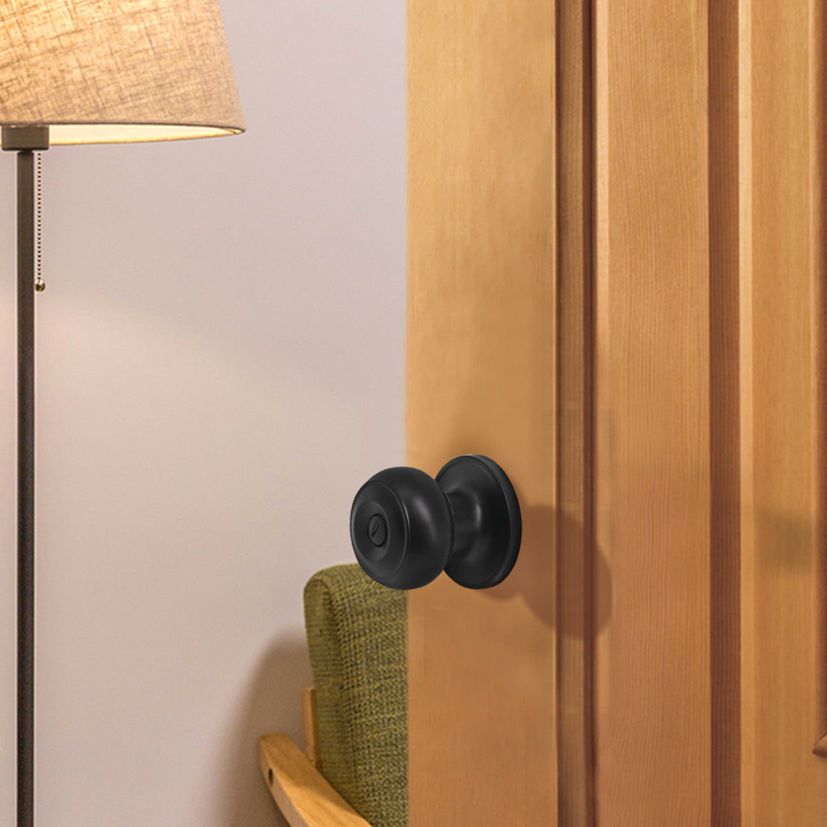 Entrance Keyed Door Locks Round Knob Privacy Passage Black