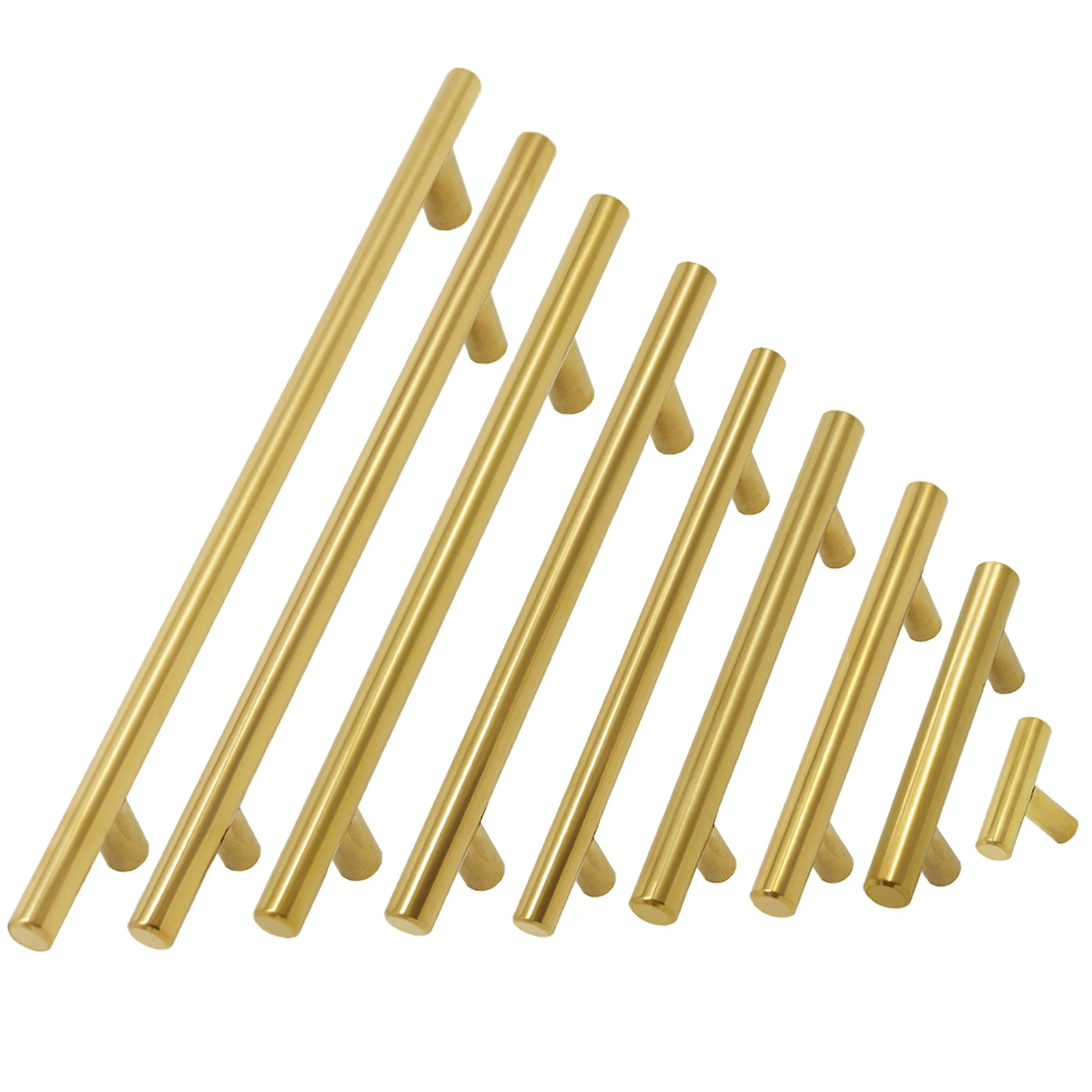 25Pack Polished Brass Kitchen Cabinet Pulls Stainless Steel Drawer T Bar Knobs
