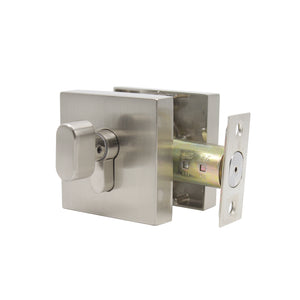 Square Single Cylinder Deadbolt Satin Nickel Keyed Entry Door Lock - Probrico