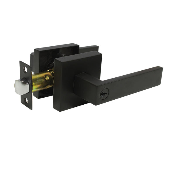 Privacy/Passage/Dummy Heavy Duty Door Lever Handles on Square Rose Black Finish Keyed Door Lock Interior - Probrico