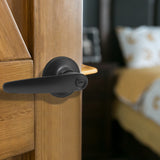 Privacy Door Lever set for Bedroom and Bathroom, Interior Door Lock Handle, Leaf Style, Black Finish DL815BKBK