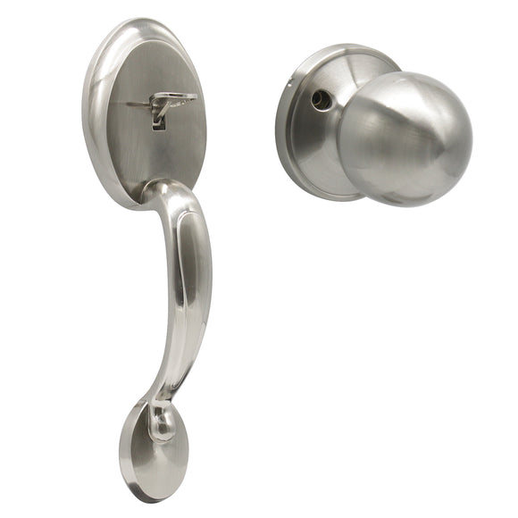 Dummy Door Handle Set Satin Nickel, Exterior Door Handle and Interior Door Knob - Probrico