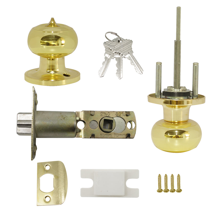 Flat Ball Knobs Entrance/Privacy/Passage/Dummy Door Lock Knob, Polished Golden Brass Finish