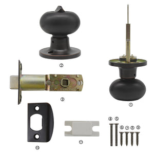 Bedroom and Bathroom Privacy Door Knob Lock Oil Rubbed Bronze Finish, Egg Ball Style - Probrico