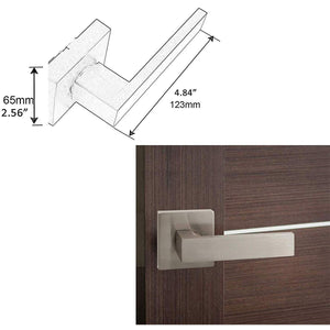 Single Dummy Door Lever Handle with Square Rosette, Brushed Nickel Finish DL01SNDM
