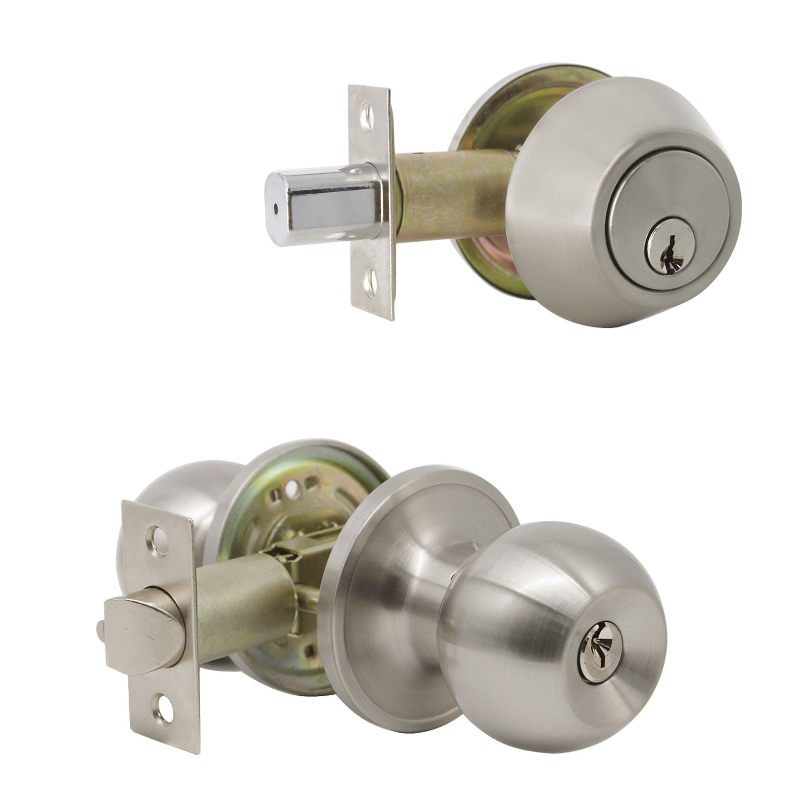 Round Ball Door Knob Lock with Double Cylinder Deadbolt Entry Keyed Lockset Satin Nickel Finish- Keyed Alike DL607ET-102SN