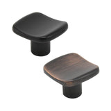 Square Concave Cabinet Knobs 1 3/16inch  Oil Rubeed Bronze/Dark Black Finish PS7016