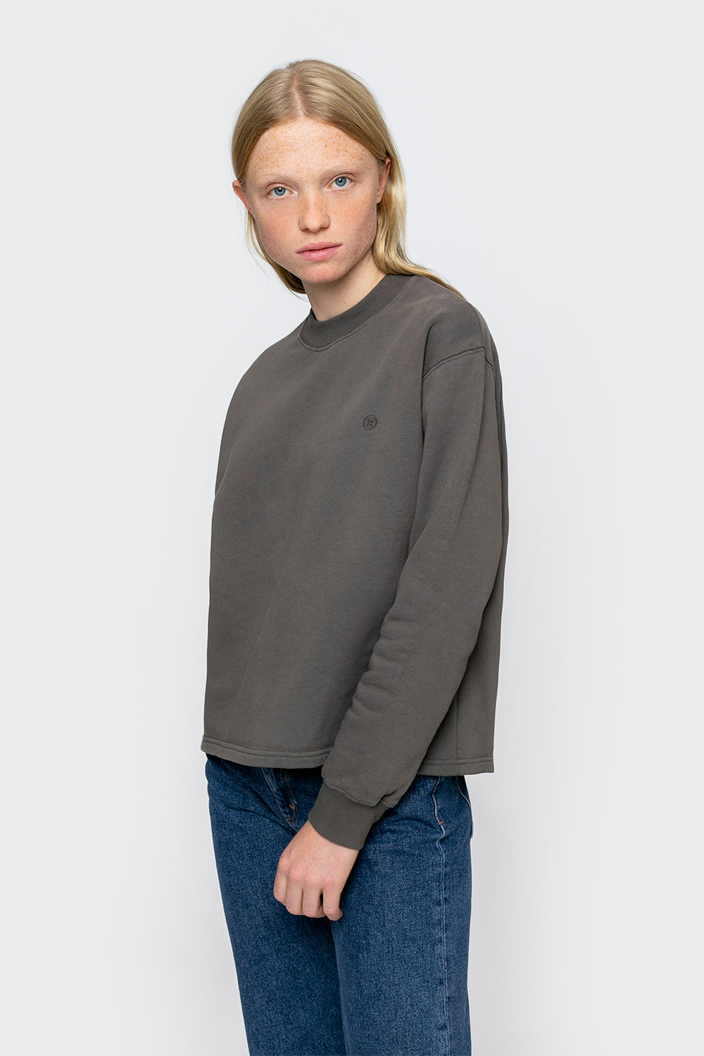 'Rights' Cropped Sweatshirt Charcoal