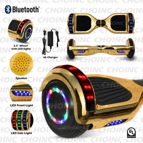 "6.5"" inch Chrome Hoverboard With Built-In Bluetooth Speaker LED Wheels and LED Side Lights Presented By RideMotorSportsPro"