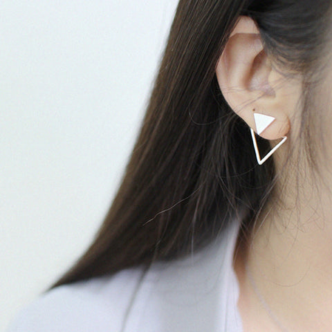 Triangle Brushed Silver Earrings