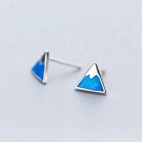 Blue Triangle Mountain Stud Earrings