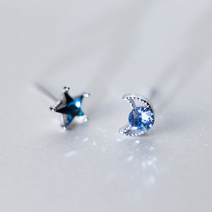 Moon and Star Stud Earrings (Asymmetry)