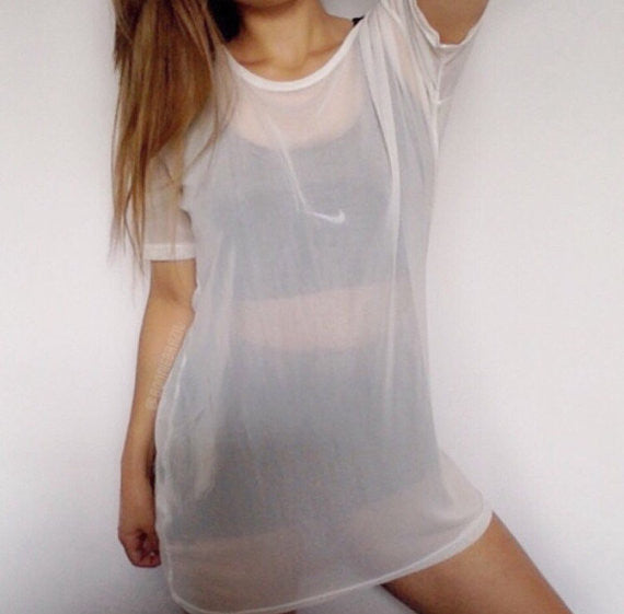 White mesh t-shirt dress