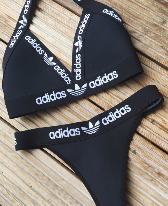Black neoprene reworked brazilian bikini