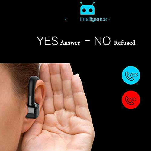 Earphone Wireless Bluetooth Headset Mini - Best True in Ear Piece | One Button Intelligent Operation Voice Recognition 10 Hour Battery Life Calls and Music (Black)