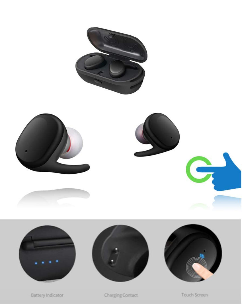 Wireless Bluetooth 5.0 Headset Mini Ear Pod - Best True HiFi Stereo in-Ear - Piece Charging Case and Pouch Included 4.2 EDR Chipset