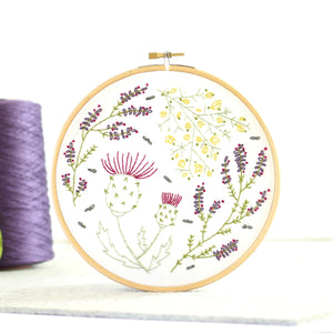 Highland Heathers contemporary embroidery craft kit