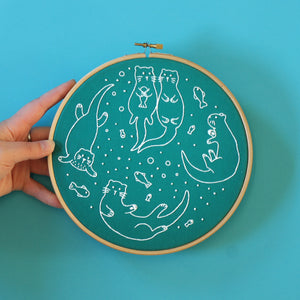 Awesome otters contemporary embroidery craft kit