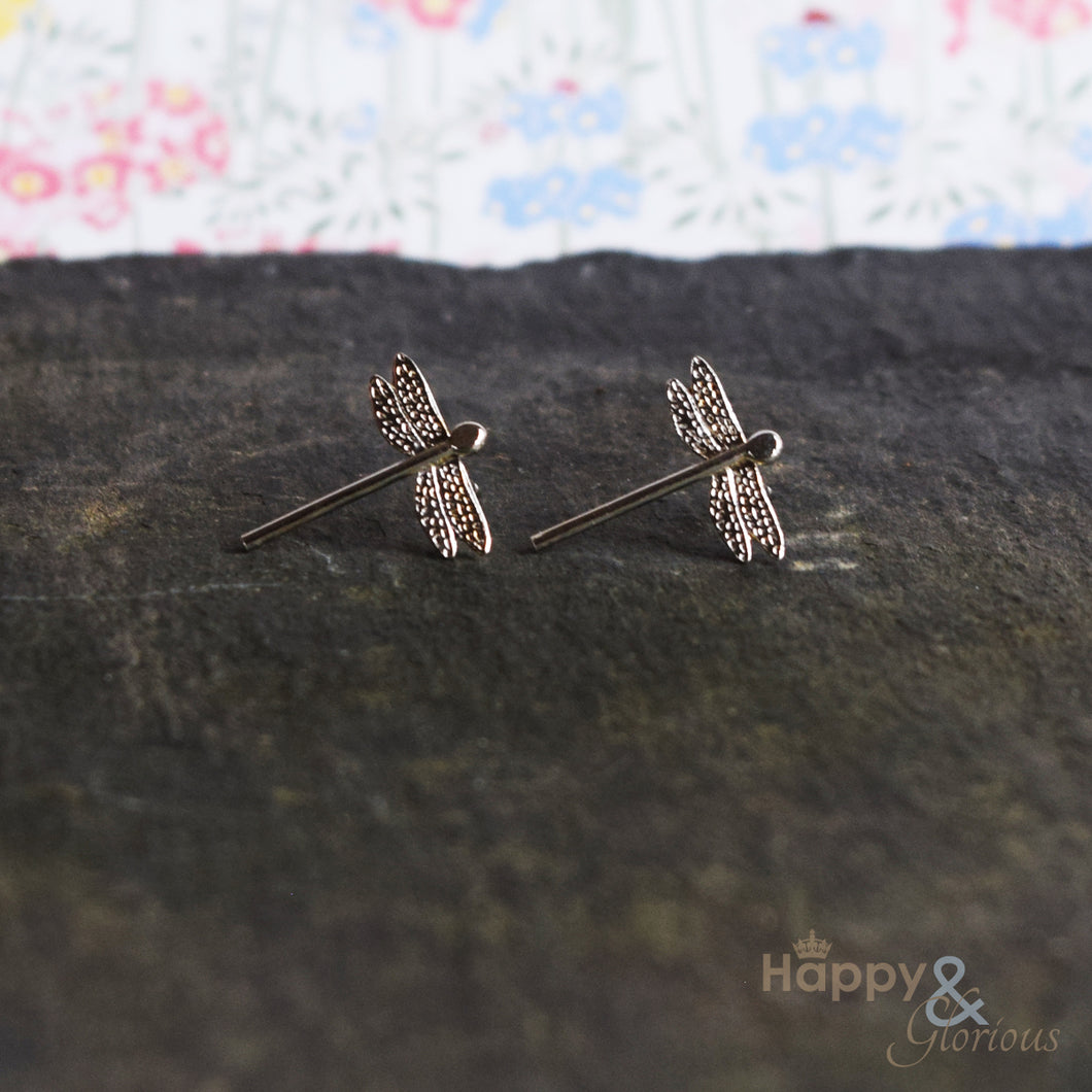 Sterling silver dragonfly stud earrings by Amanda Coleman