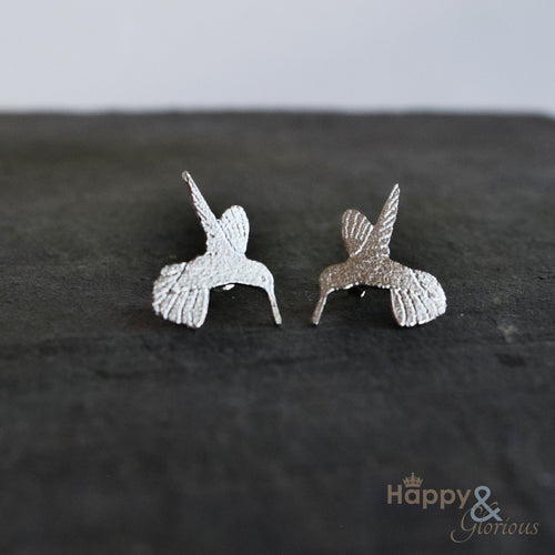 Sterling silver hummingbird stud earrings by Amanda Coleman