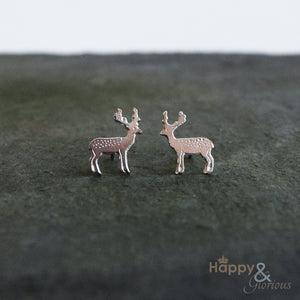 Sterling silver stag stud earrings by Amanda Coleman