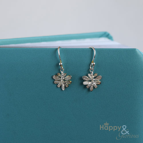 Sterling silver aralia leaf drop earrings by Amanda Coleman