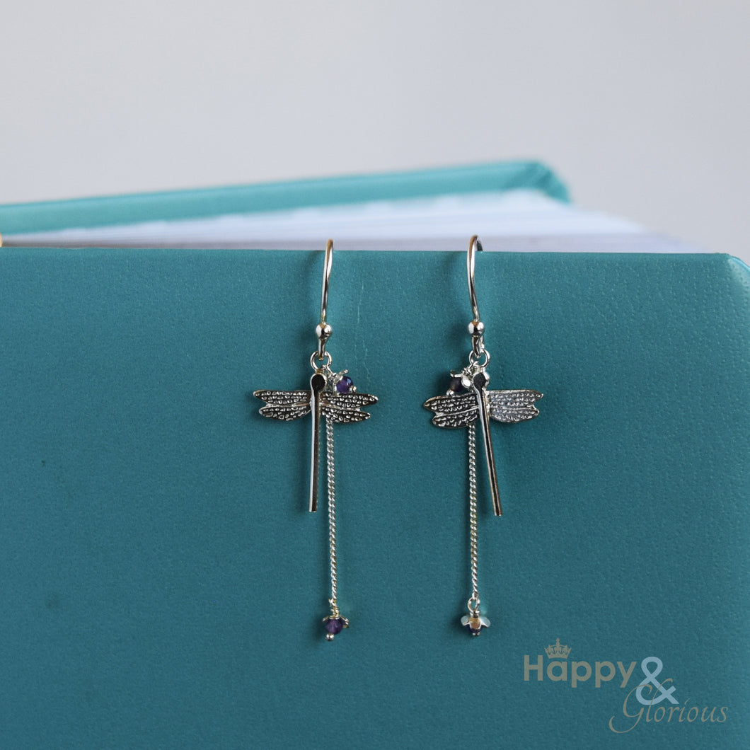 Sterling silver dragonfly drop earrings with amethysts by Amanda Coleman