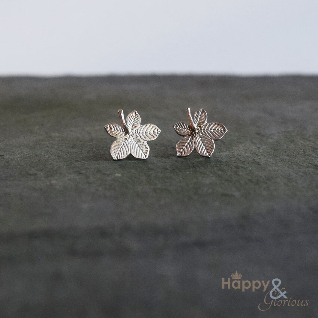 Sterling silver horse chestnut leaf stud earrings by Amanda Coleman