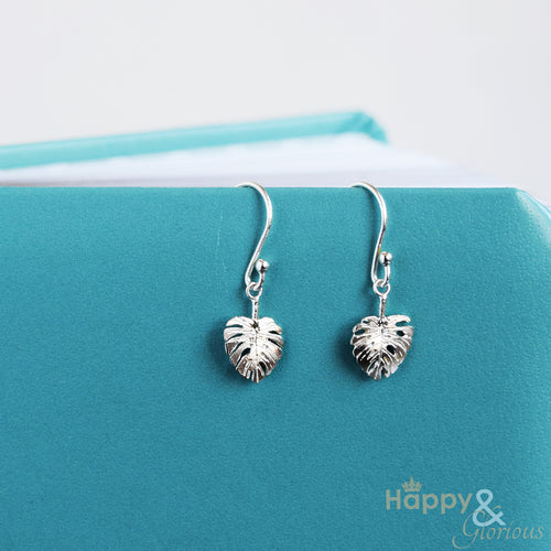 Sterling silver monstera leaf drop earrings by Amanda Coleman