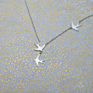 Sterling silver three swallows necklace by Amanda Coleman