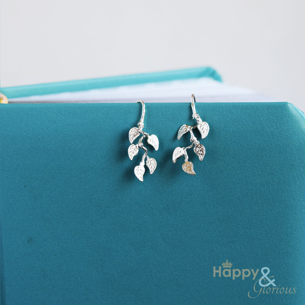 Sterling silver vine leaf drop earrings by Amanda Coleman