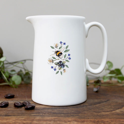 Bee and wild flowers half pint china jug