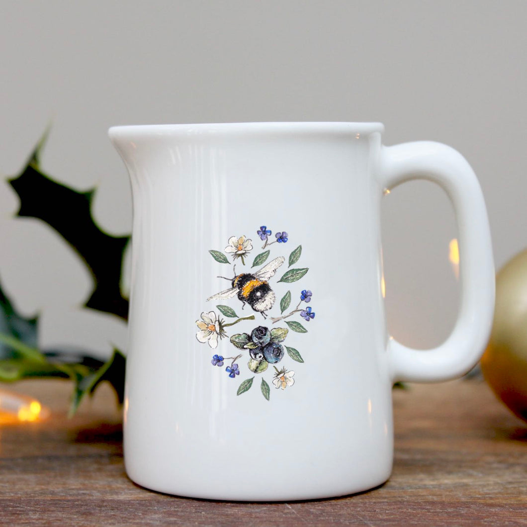 Bee & wild flowers mini china jug