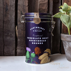 Chocolate drop shortbread biscuits in vintage style tin