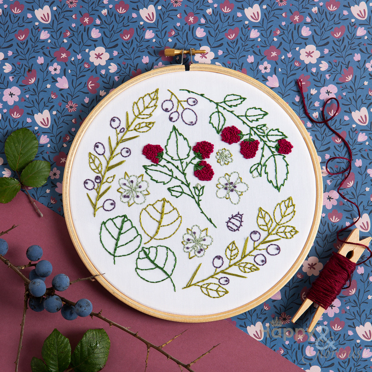 Blackthorn Bramble contemporary embroidery craft kit