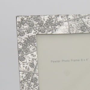 "Pewter 'blossom' 3.5"" square frame by Lancaster & Gibbings"